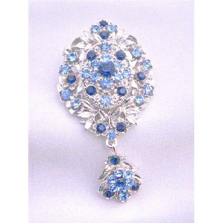 B221  Sapphire Crystals Brooch Wedding Brooch Stylish Trendy Brooch