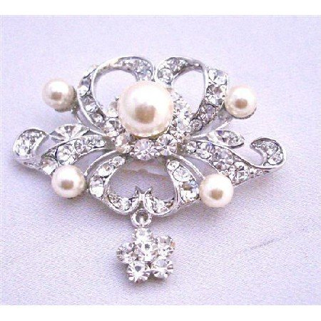 B262  Silver Brooch Fully Encrusted w/ Rhinestones Pearls & Cubic Zircon Flower Dangling Brooch