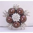 B307  Meroon Pearls Fashionable Designed Brooch Wedding Party Brooch