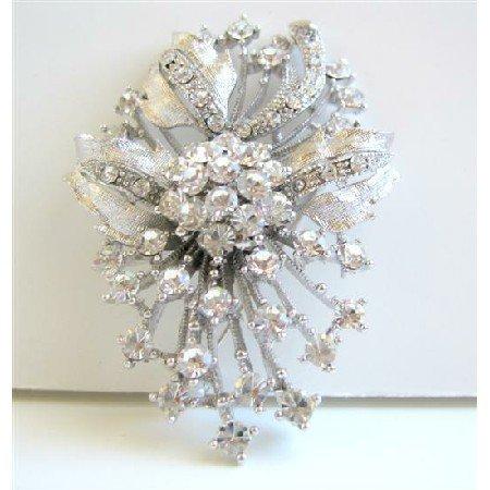 B038 Diamond Brooch Fully Embedded w/ SIMULATED Diamond FLOWER BROOCH