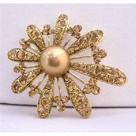 B284  Bronze Smoked Topaz Topaz Encrusted Brooch Adorable Gold Fan Flower Petals Brooch