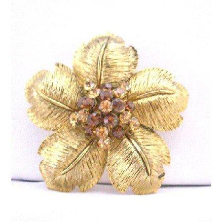 B282  Adorable Gold Flower Petals Bridal Brooch w/ Smoked Topaz & Topaz Rhinestones