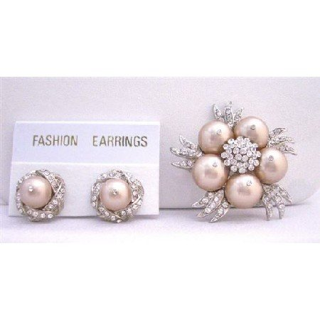 B319  Champagne Pearls Brooch Earrings NEW COMBO Wedding Jewelry With Diamond