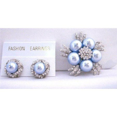B317  Fabulous Matching Blue Brooch & Earrings Genuine Swarovski Blue Pearls w/ Diamond Surrounded