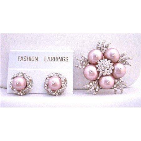 B314  Pearls Diamond Brooch Earrings NEW Combo Wedding Jewelry