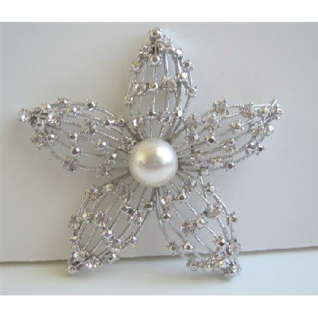 B155  Artist Creative Brooch Superior Quality Flower Fully Embedded w/ Simulated Diamond