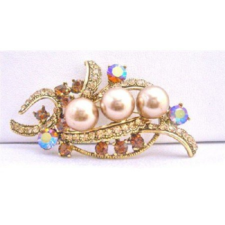 B179  Champagne Pearls w/ Smoked Topaz Crystals Brooch Antique Gold Bouquet Bridal Brooch