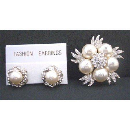 B299 Swarovski Ivory Pearls Brooch & Matching Earrings w/ Sparkling DiamondCubic Zircon