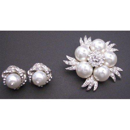 B321  Pure White Pearls Brooch Matching Classy Pearls Stud Earrings Diamante Brooch & Earrings