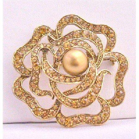B264  Copper Brooch Rose Brooch Multi Round Rose Brooch Wedding Sparkling Brooch