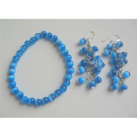 TB537 Dark Blue Glass Cats Eye Stone Bead Beaded Dangling Earrings Earrings Stretchable Bracelet