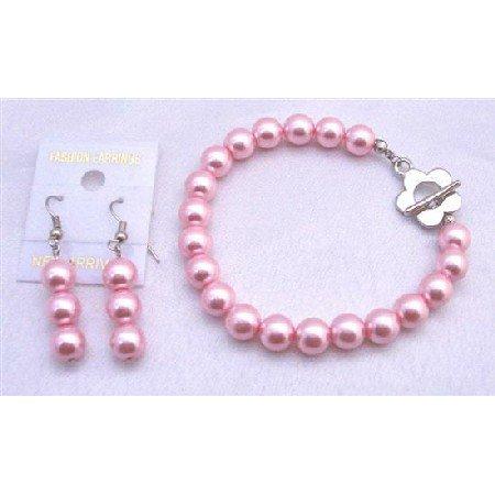 TB669  Bracelet & Earrings Set In Pink Pearls Flower Clasp Bracelet