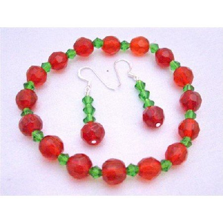 TB618 Red/Green Beads Stretchable Bracelet Earrings Glass Beads & Simulated Crystals