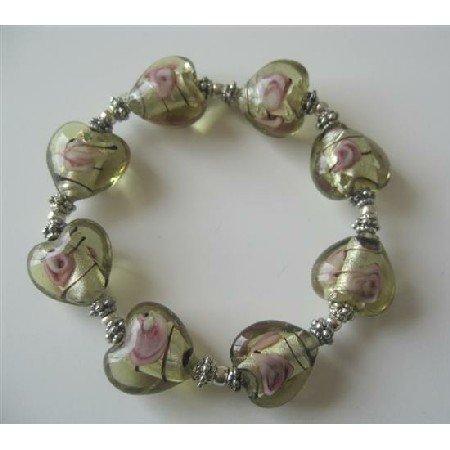 TB368  Heart Millefiori Venetian Glass Stretchable Bracelet w/ Silver Beads