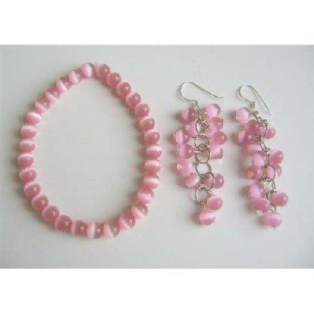 TB535  Pink Cats Eye Stone Bead Beaded Dangle Hook Earrings Stretch Bracelets
