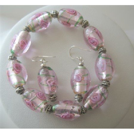 TB365 Pink MILLEFIORI VENETIAN GLASS BEADS Stretchable Bracelet/Sterling Silver Earrings
