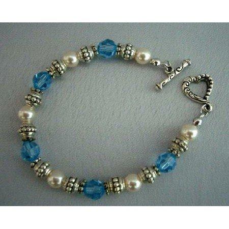 TB250  Genuine Swarovski Crystals & Pearls w/ Oxidized 7 inches Bracelets