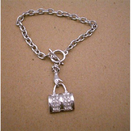 TB337  Purse Dangling Bracelet Beautiful Hand Holding CZ Pruse Dangling in Simulated Diamond