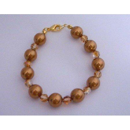 TB298  Swarovski Copper Crystals Pearls Bracelet New Handmade w/Gold Plated Clasp