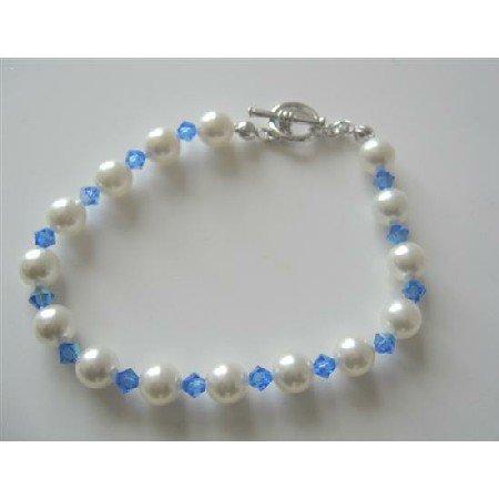 TB382  Sapphire Swarovski Crystals w/ White Pearls Bracelet Handmade Genuine Bracelet