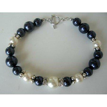 TB267  Fine Bracelet Genuine Swarovski Pearls & Silver Rondells w/ Toggle Clasp 7 inches Bracelet