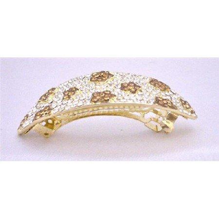 HA501Smoked Topaz Crystals Hair Barrette Bridal Hair Jewlery Clear Crystals Bridal Hair Barrette