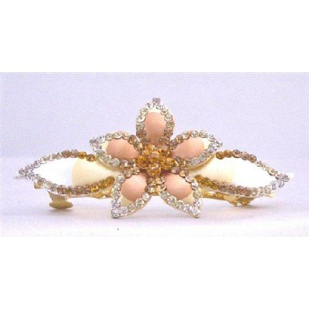 HA467 Flower Bridal Hand Painted Hair Barrette In Smoked Topaz & Golden Shadow Crystals