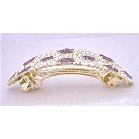 HA502  Amethyst Clear Crystals Hair Barrette Bridal Hair Jewlery Crystals Bridal Hair Barrette