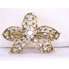 HA471  Antique Gold Flower Vintage Hair Barrette Embedded w/ Cubic Zircon Hair Clip