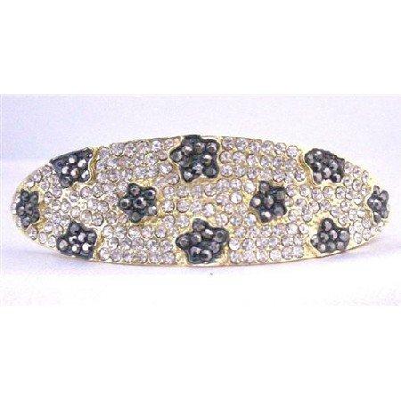 HA497  Clear Crystals Bridal Hair Barrette Fully Encrusted w/ Black Jet Flower Crystals Embedded