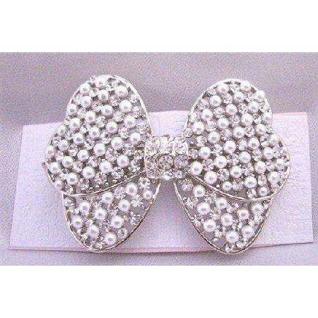 HA493  Bridal Hair Barrette White Pearls & Simulated Diamond Bow Beautiful Hair Clip