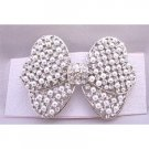 HA493  Bridal Hair Barrette White Pearls & Simulated Diamond Bow Beautiful Hair Clip
