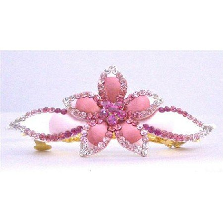 HA469  Bridal Head Piece Hand Painted With Light & Dark Pink Crystals Hair Clip