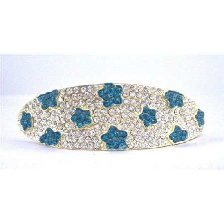 HA498  Blue Crystals Flower Prom Bridal Hair Jewlery Clear Crystals Bridal Hair Barrette