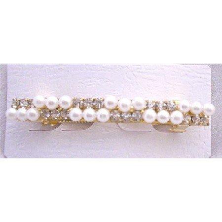 HA461  Bridal Hair Pin Inexpensive Hair Clip Pearls & Simulated Diamond Gold Hair Barrette