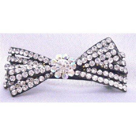 HA457  Clear Rhinestones Fully Embedded Bridal Barrette Exclusively Wedding Hair Clip