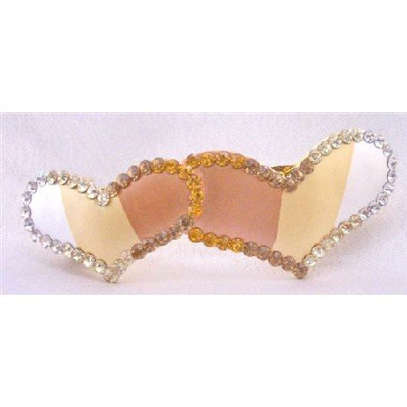 HA473  Prom Hair Clip Of Heart Smoked Topaz Crystals Heart Hand Painted & Decorated