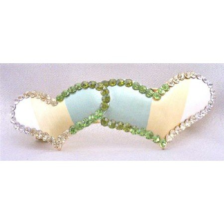 HA474  Valentine Gift w/ Heart Hair Barrette Hand Painted w/ Peridot Clear & Olivine Crystals