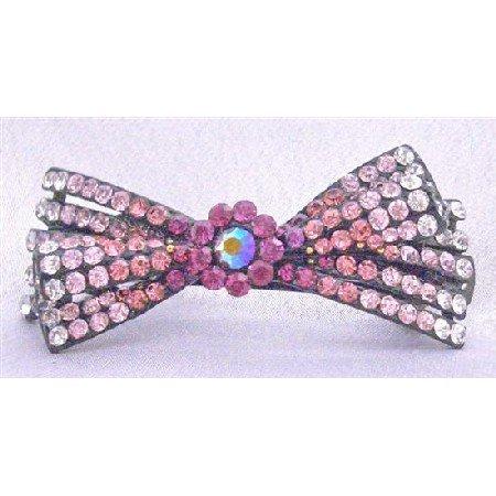 HA458  Pink Bow Hair Barrette Promp Hair Clip Fuschia Rose LIte ROse & Clear Rhinestones