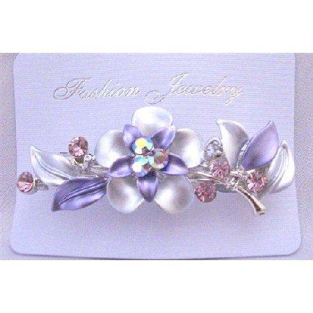 HA489  Amethyst Crystals Enamel Flower Bridal Hair Barrette Wedding Hair Barrette Clip