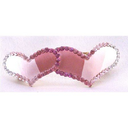 HA475 Heart Hair Clip Heart Hand Painted & Decorated w/ Fuschia Rose & Clear Crystals Hair Barrette