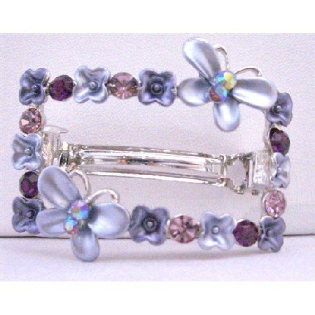 HA492  Purple Crystals Flower Butterfuly Rectangular Hair BarretteFlower Butterfly Hair Barrette