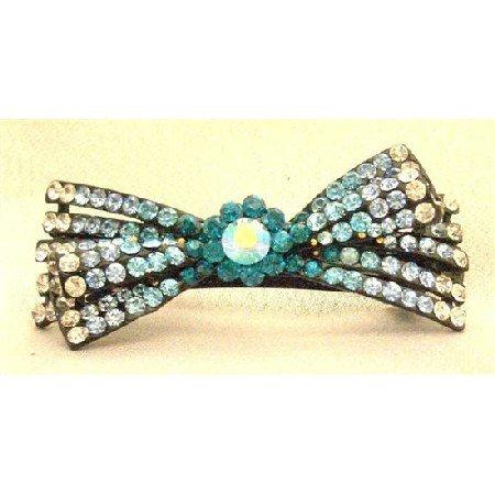 HA456  Wedding Hair Accessory Bridal Hair Barretted Sapphire Aquamarine Blue Zirconia