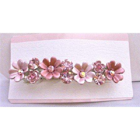HA164  Flower Hair Barretted Fully Sparkling w/ Crystals Embedded On Each Flower Hair Barrette Clip