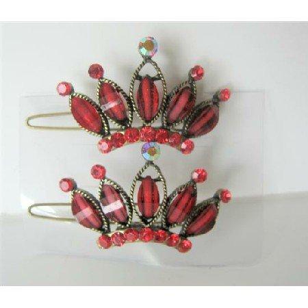 HA184  Seduction Red Crown Hair Clip Pair Of Crown Hair Clip Sparkling Crystals Clip