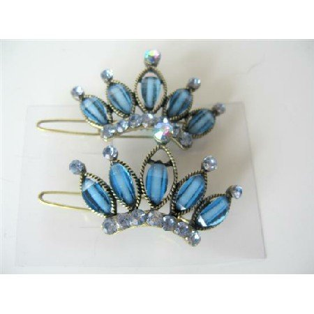 HA126  Pair Of Hair Clip Sophisticated Blue Crown w/ Crystals Sparkling Hair Clip