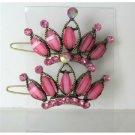 HA180  Pink Hair Accessories Crown Sparkling Pink Crystals Crown Hair Pair Clip