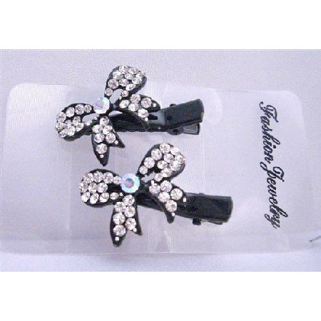 HA406  Beautiful Bow Hair Clamp Clip Encrusted w/ Cubic Zircon Sparkling Hair Clamps Clip