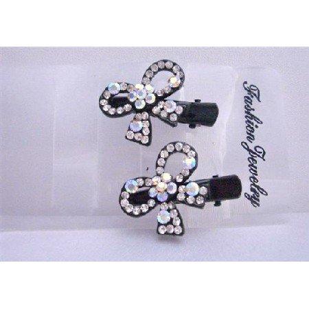 HA054  Sparkling Simulated Diamond Bow Hair Clamp Clip