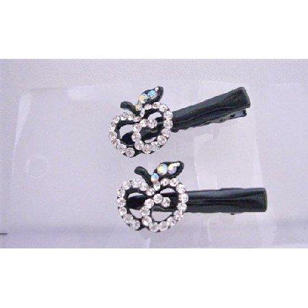 HA404  Simulated Diamond Apple Pair Hair Clamps Clip Sleek & Sparkling Clamps